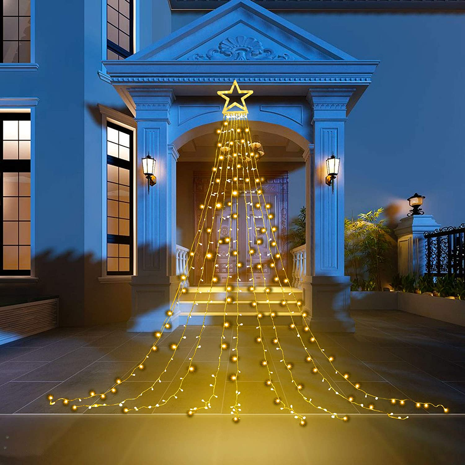 PUHONG Christmas Decoration Outdoor Star String Lights,16.4Ft Christmas Tree Toppers Lights 320 LED 8 Memory Modes with 14