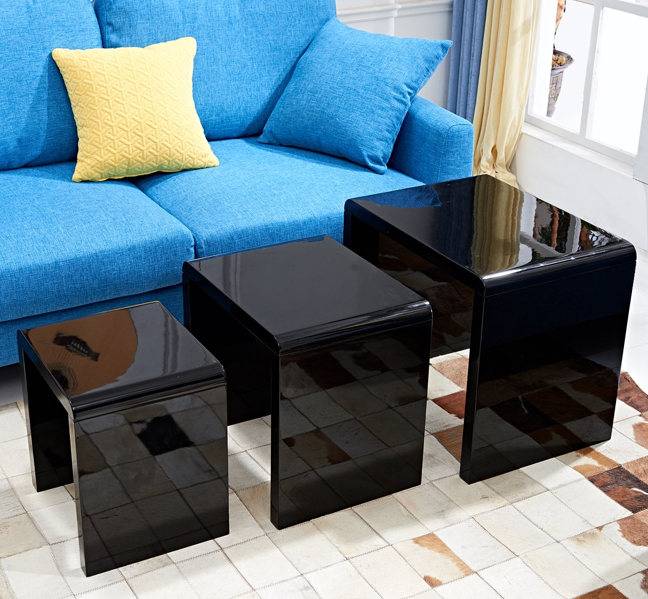 LSCING Collection Stackable Glossy Finish 3-Piece End Table Side Nesting Table, Black