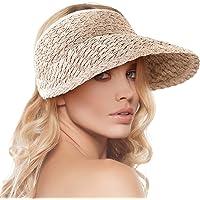 Womens Wide Brim Sun Hat Roll-up Foldable Straw Visor Hat