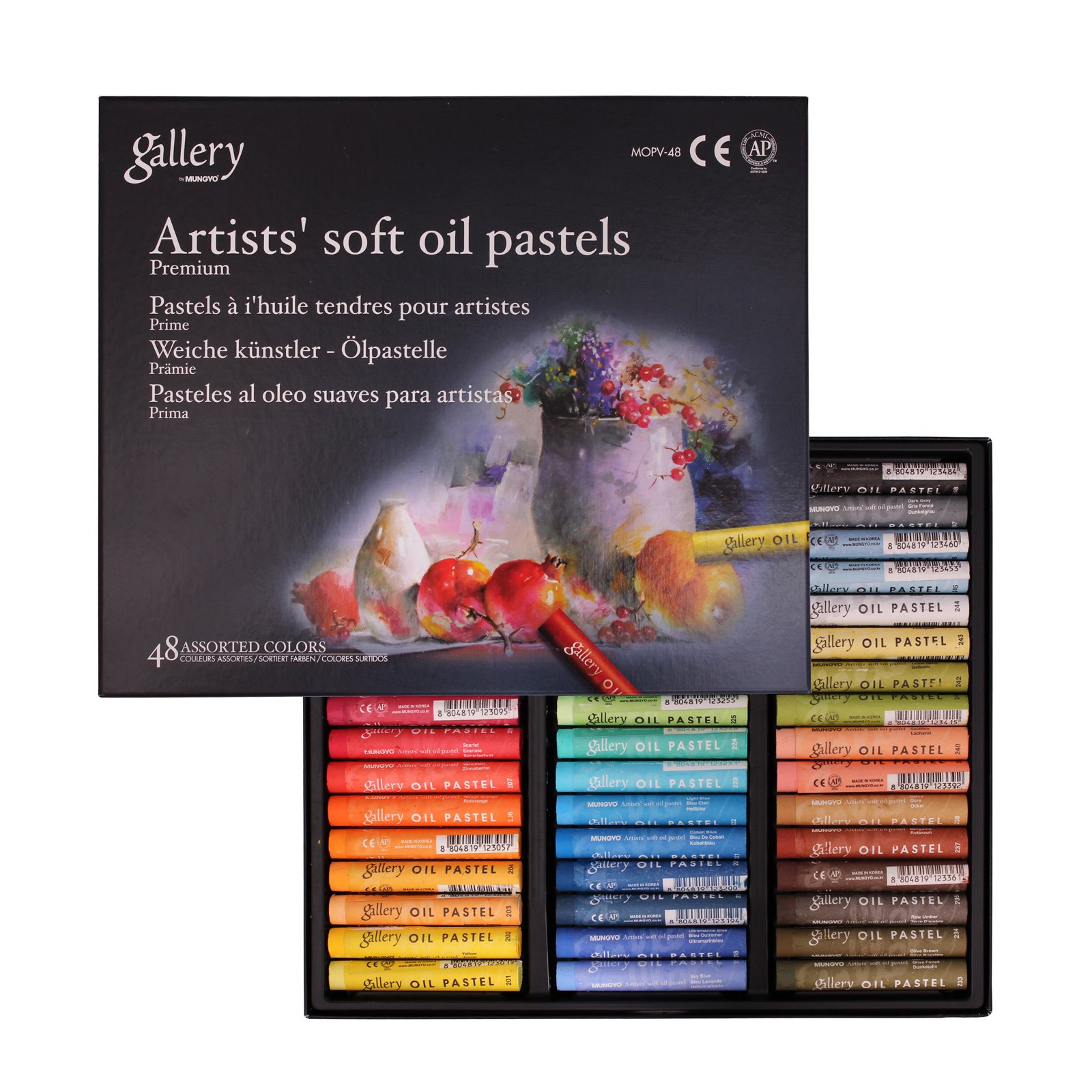 Mungyo Gallery Artists Soft Oil Pastels Set of 48 - Assorted Colors + Epoxy sticker collection book