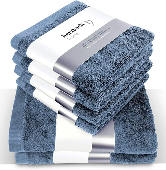 herzbach Home - Juego de toallas de mano de algodón 100 %, 4 ...
