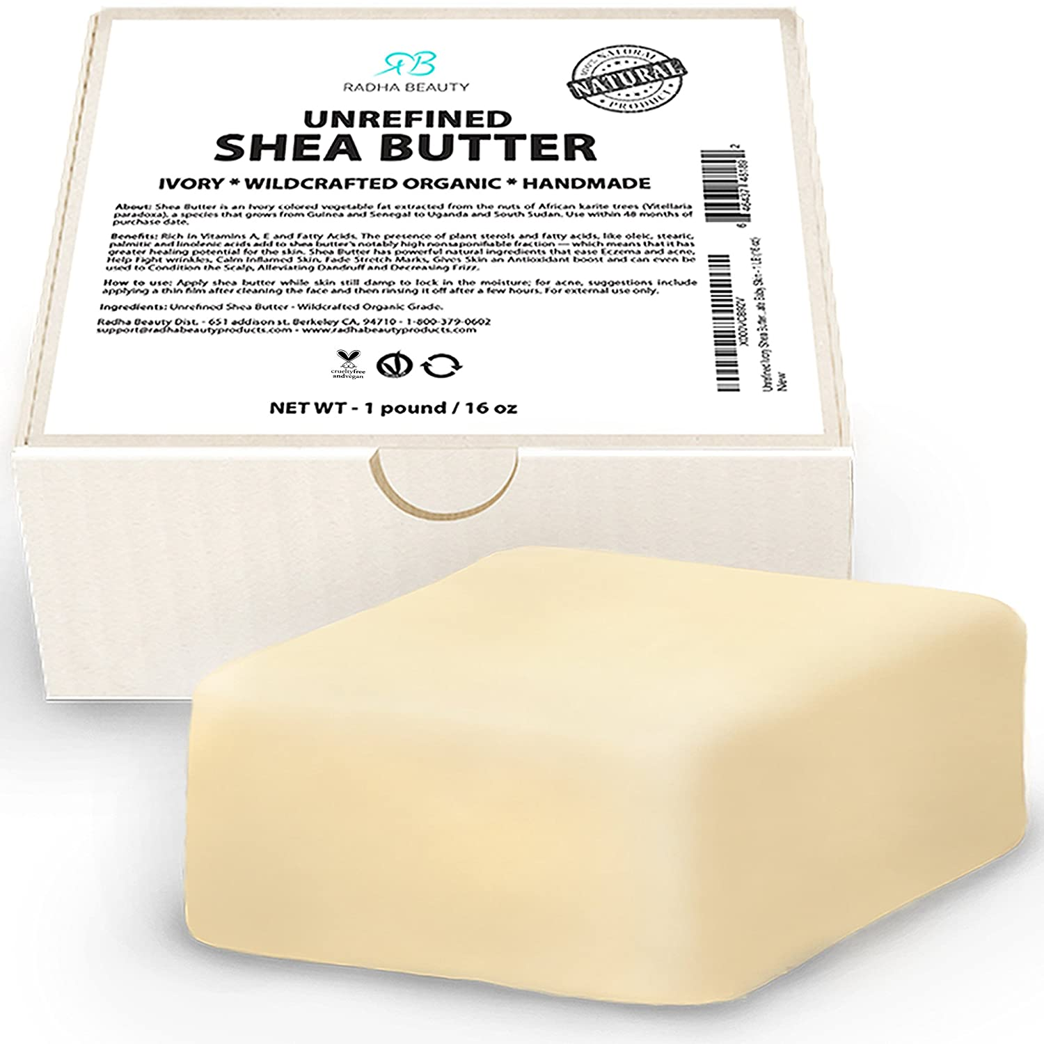 Radha Beauty Unrefined Shea Butter - 1 lb (16 oz) Premium Ivory Shea Butter for DIY Skin Care Recipes, Dry or Acne-Prone Skin, Eczema, Stretch Marks and Delicate Baby Skin
