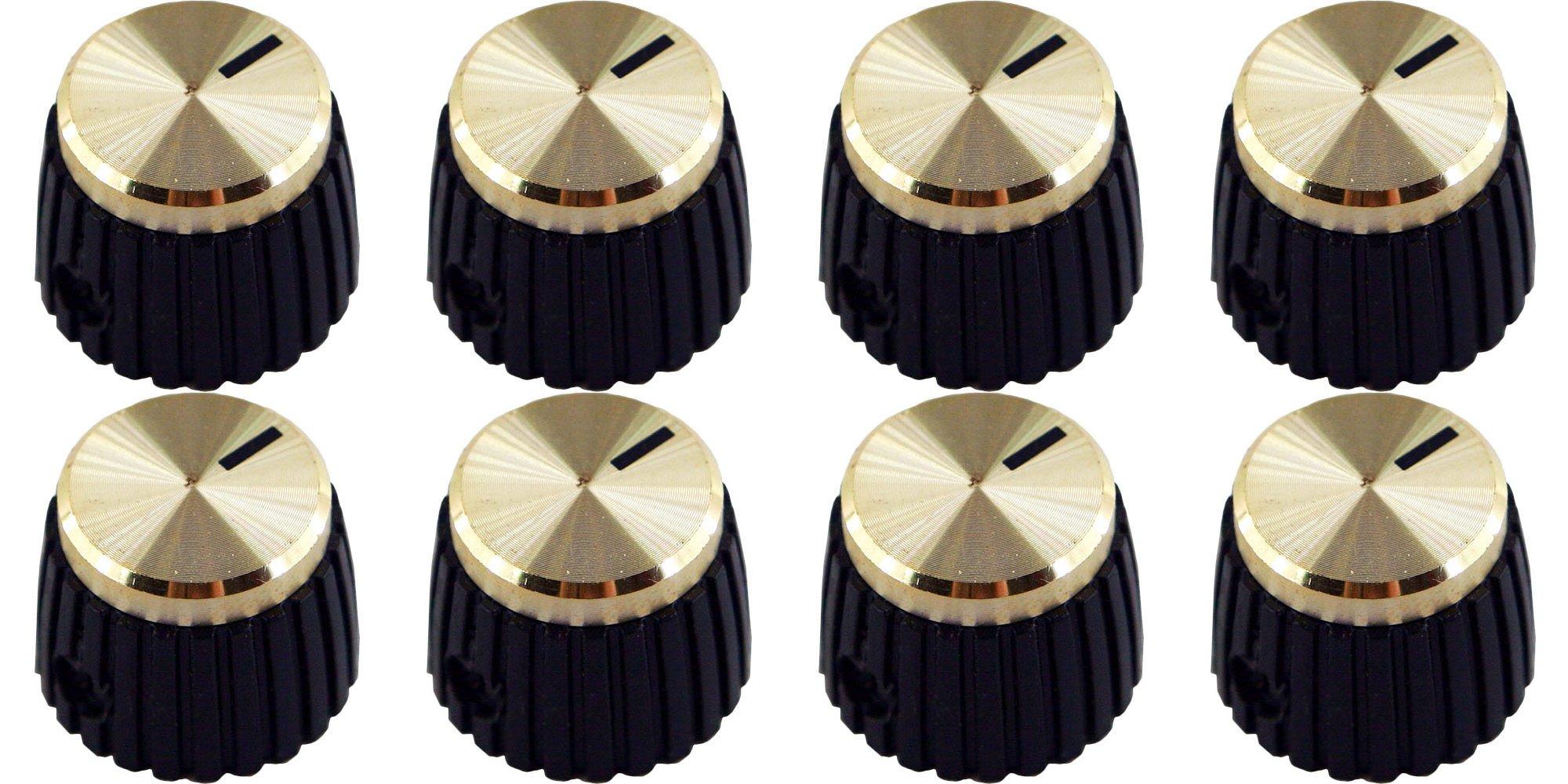 Original Marshall Amplifier Gold D-Shaft Knob Set, Pkg. 8