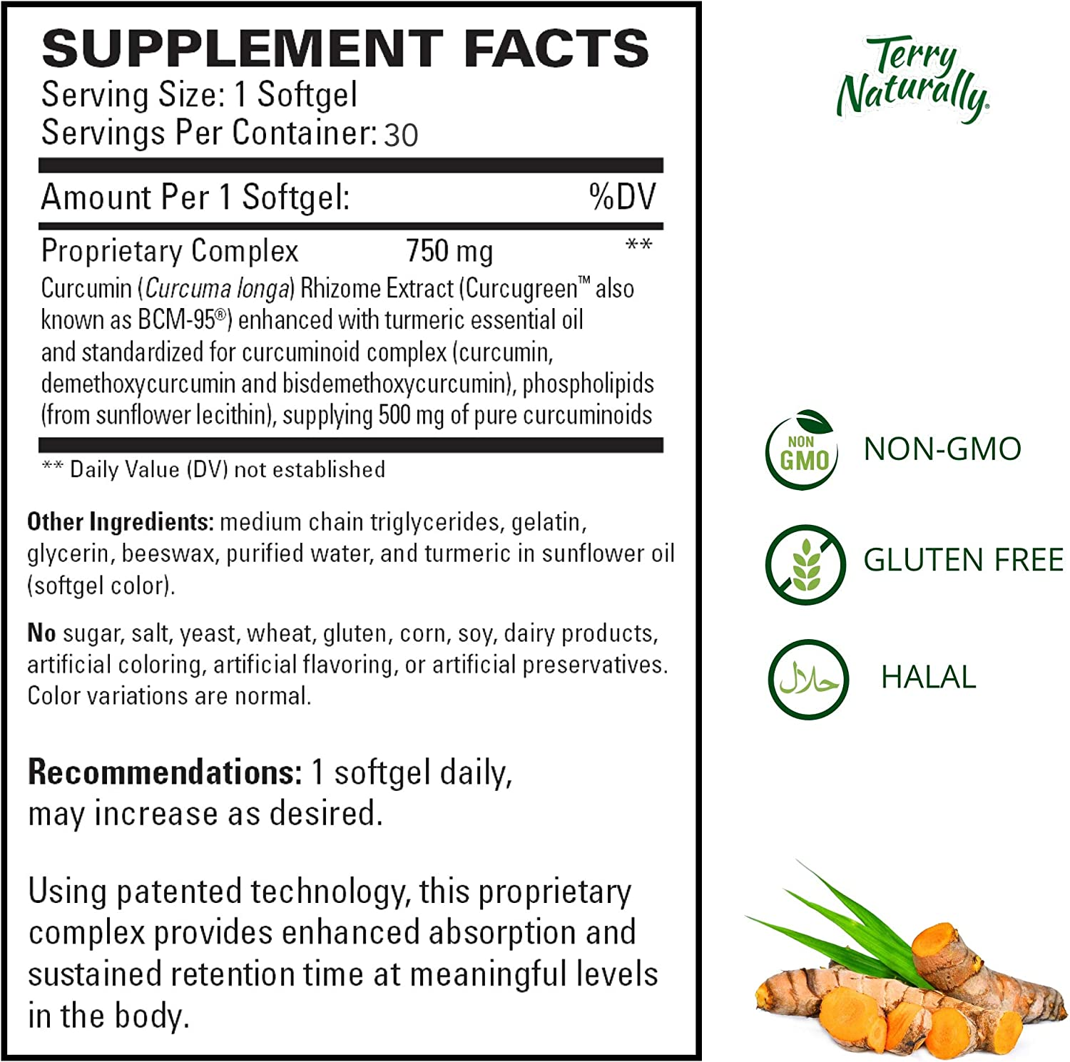 Terry Naturally CuraMed 750 mg - 30 Softgels - Superior Absorption BCM-95 Curcumin Supplement with Turmeric, Promotes Healthy Inflammation Response - Non-GMO, Gluten-Free, Halal - 30 Servings: Health & Personal Care
