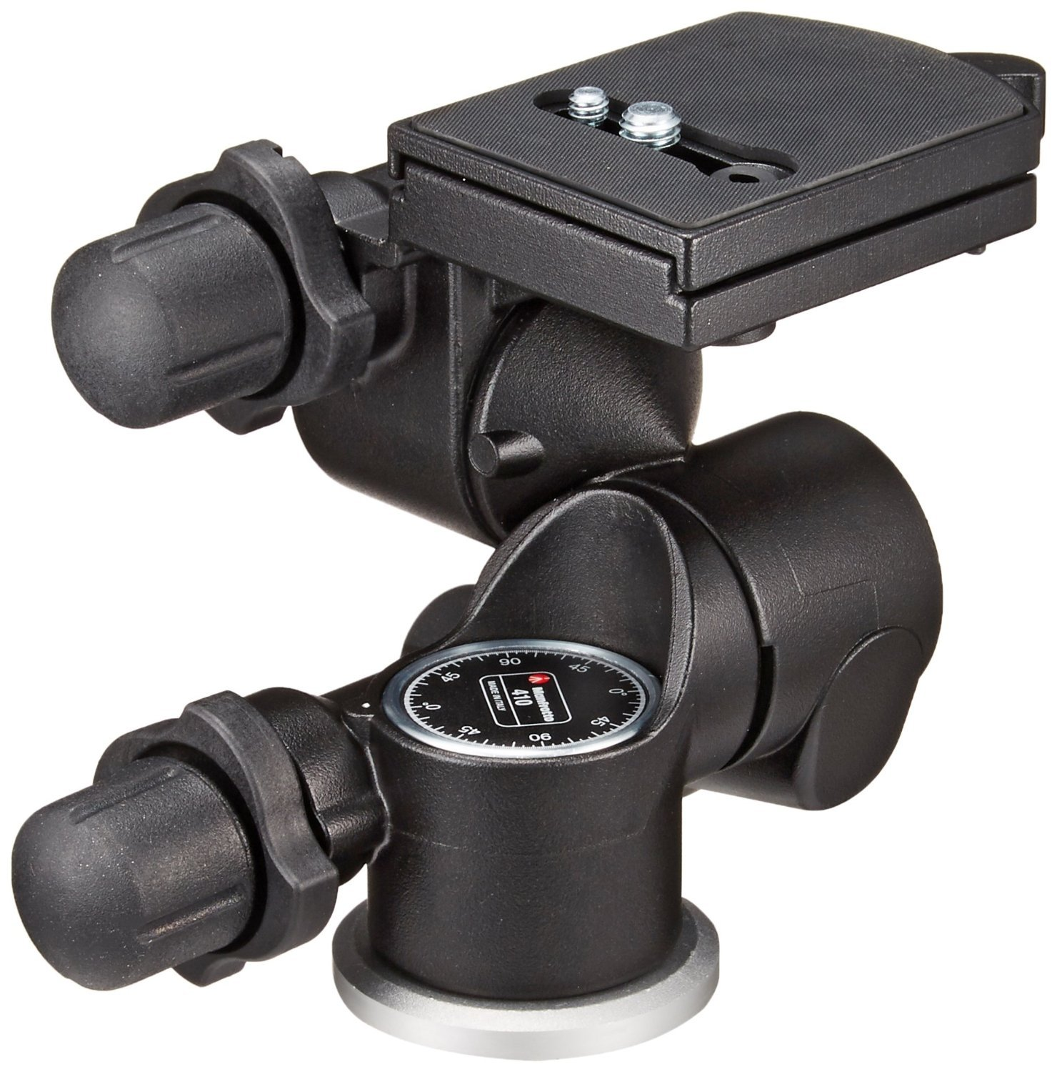 Manfrotto 410 Junior Geared Tripod Head with Quick Release and a ZAYKIR Quick Release Plate by ZAYKIR (Image #1)