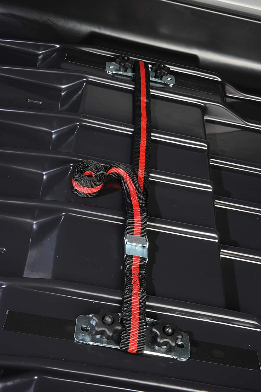 MOOVE Ba/úl portaequipajes de Techo para Coche Certificado para Dacia Duster 75 kg de Carga aerodin/ámica 470 litros Negro Mate