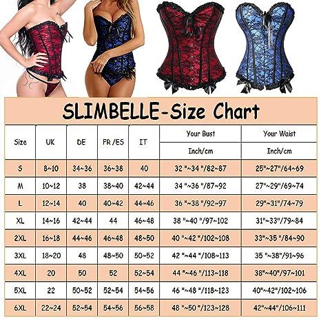 SLIMBELLE Corset Bustier Femme Taille Minceur Gothique Dentelle Lingerie  Sexy Vintage Ventre Plat Latex pour Steampunk Ceinture Lycra Jacquard  Lacets Gaine ... c88b5d6782f