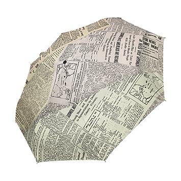 yzgo compacto paraguas de viaje Patchwork Retro periódico resistente al viento & impermeable paraguas toldo –