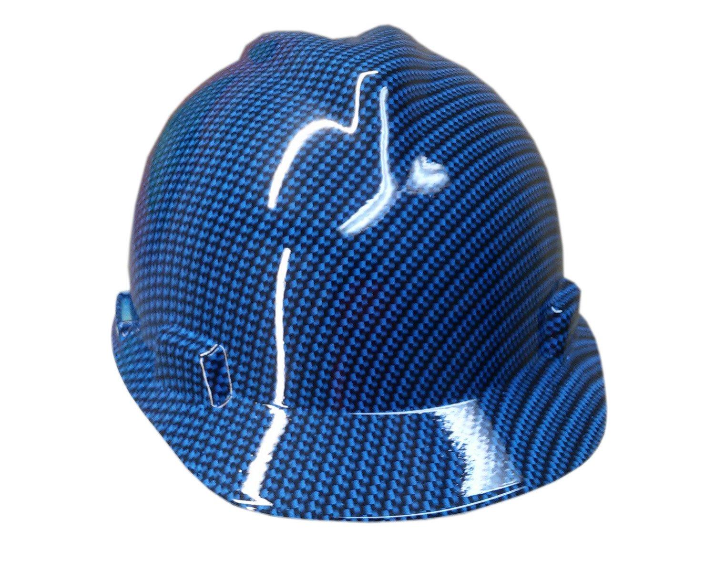 Izzo Graphics Blue Carbon Fiber MSA V-Guard cap Hard Hat