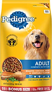 Pedigree Adult Roasted Chicken, Rice & Vegetable Flavor Dry Dog Food 55 Pounds