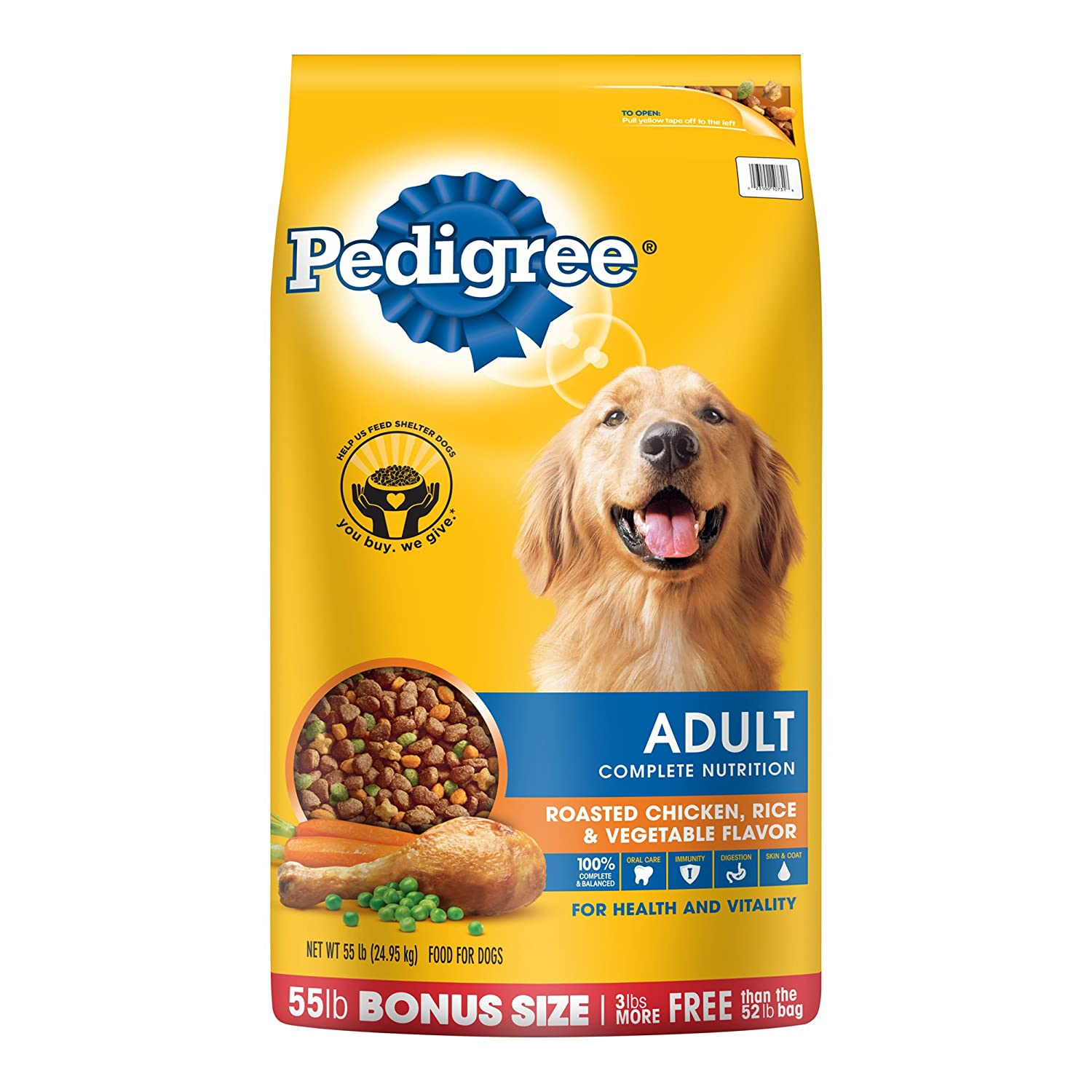 Pedigree Adult Roasted Chicken, Rice Vegetable Flavor Dry Dog Food 55 Pounds