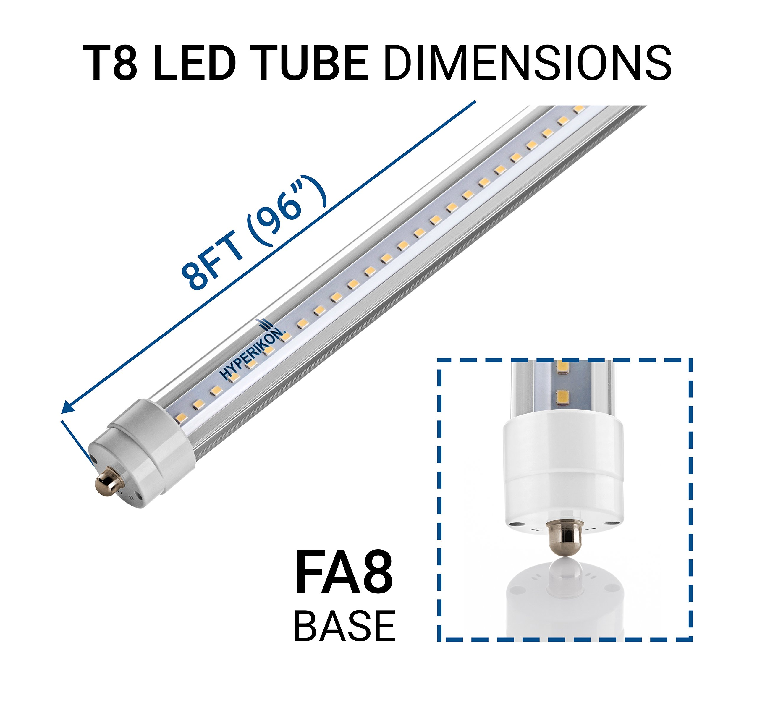 Hyperikon T8 T10 T12 8ft LED Tube Light, 36W (75W Equiv.), Dual-End Powered, Ballast Bypass, Shatterproof, Fluorescent Replacement, 5000k, Clear, 4400 Lumens, Workshop, Warehouse, Garage - 12 Pack by Hyperikon (Image #3)