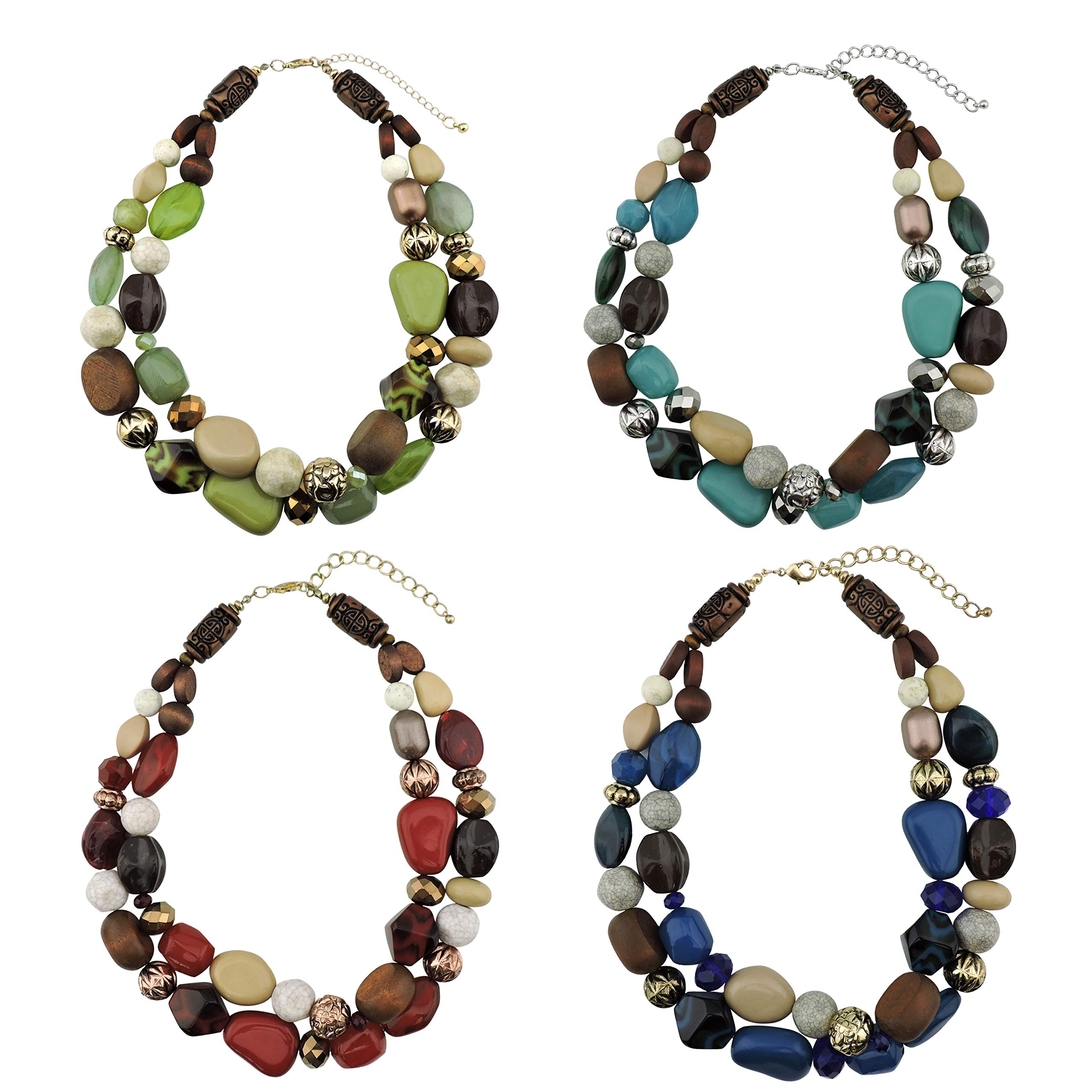 Bocar 2 Layer Statement Chunky Beaded Fashion Necklace for Women Gifts (NK-10384-1 Set)