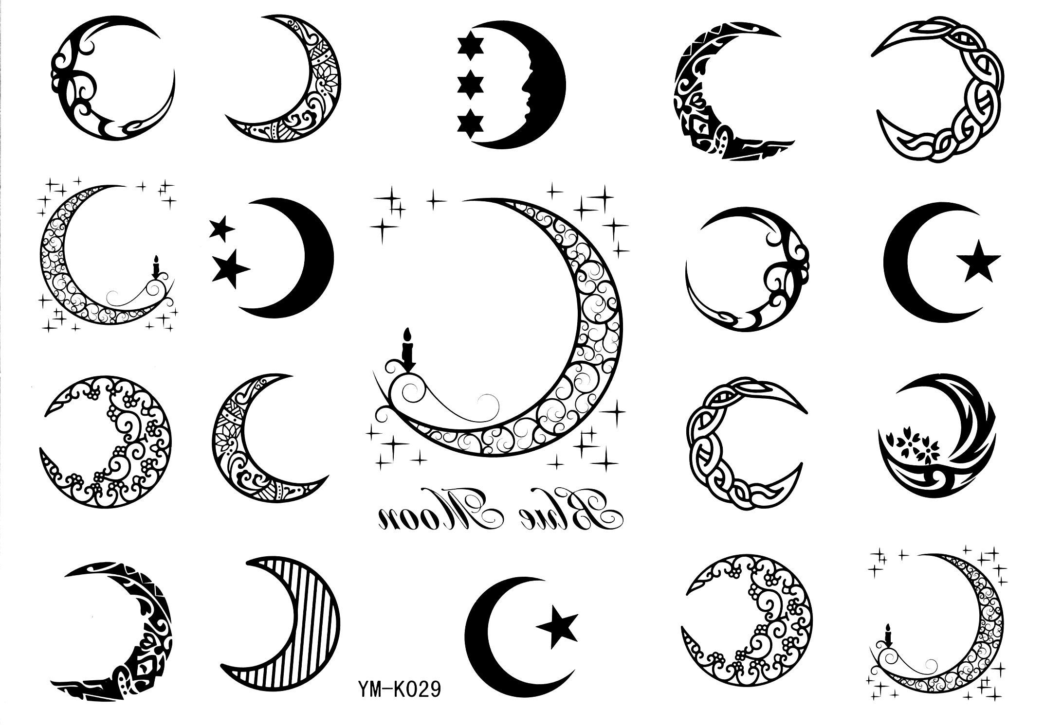 7df50610d Moon Tattoo Stickers 19style Totem Temporary Tattoos Star Tattoo Stickers