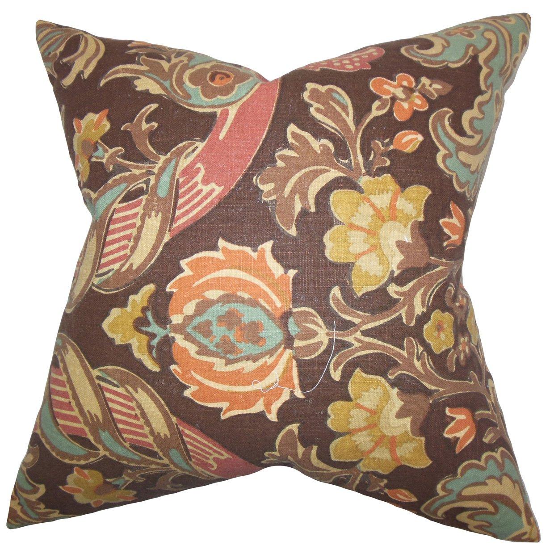 Espresso The Pillow Collection Kiriah Floral Pillow