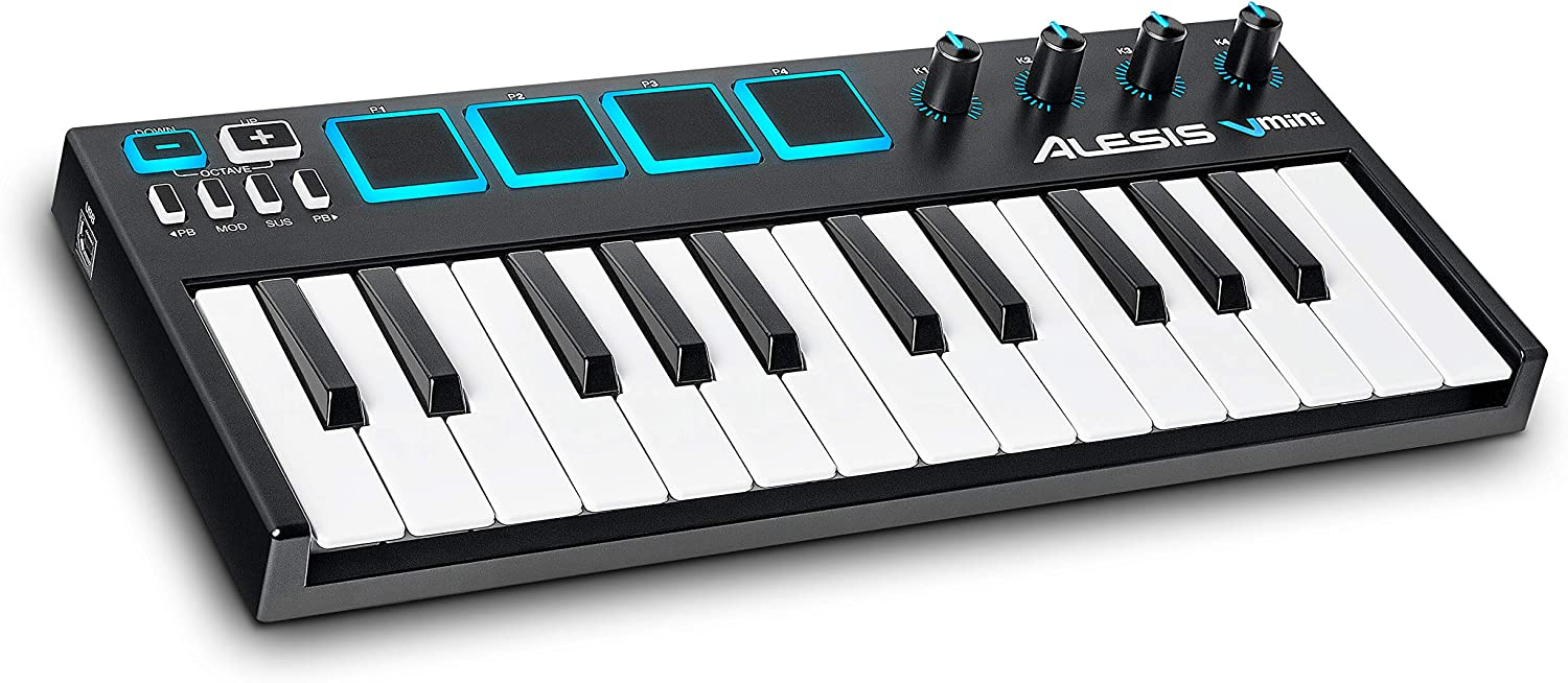 Alesis VMini | Portable 25-Key USB MIDI Keyboard Controller with 4 Backlit Sensitive Pads, 4 Assignable Encoders and Professional Software Suite with ProTools | First Included, MultiColored (V Mini)