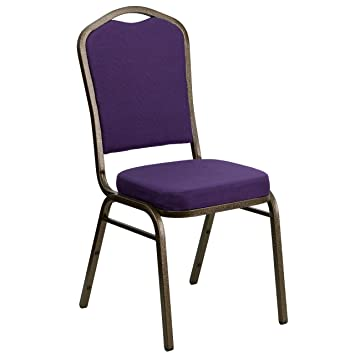 Attractive Flash Furniture HERCULES Series Crown Back Stacking Banquet Chair In Purple  Fabric   Gold Vein Frame