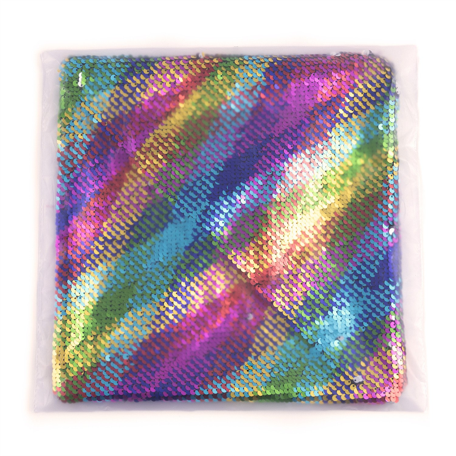 LAGHCAT Reversible Cushion Covers Sequins Mermaid Pillow Cases with magic mermaid sequin (Colorful and silver)