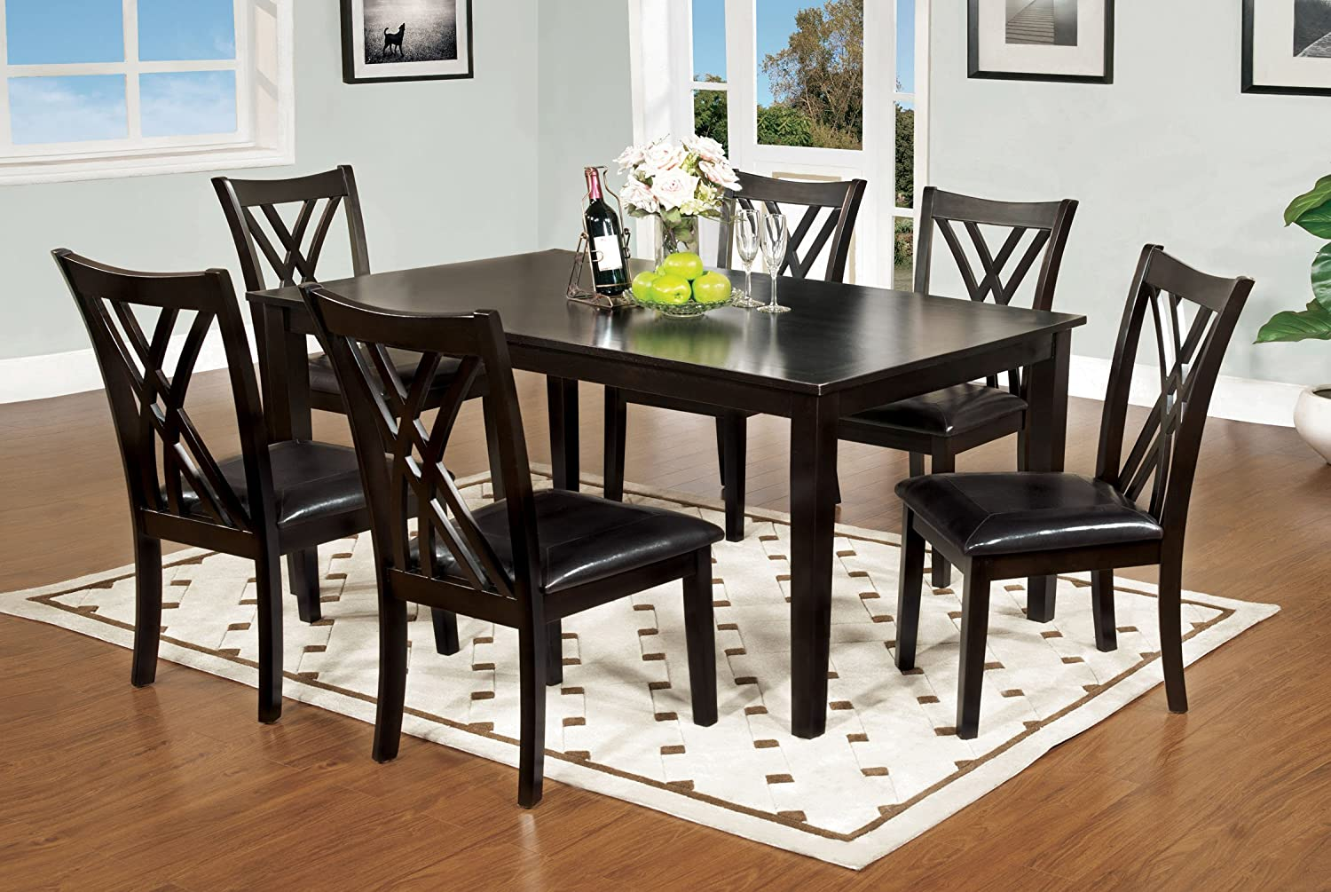 Amazon.com - Furniture of America 7-Piece Hearst Rectangular Dining Table and Chair Set Espresso Finish - Table \u0026 Chair Sets : espresso dining table set - pezcame.com