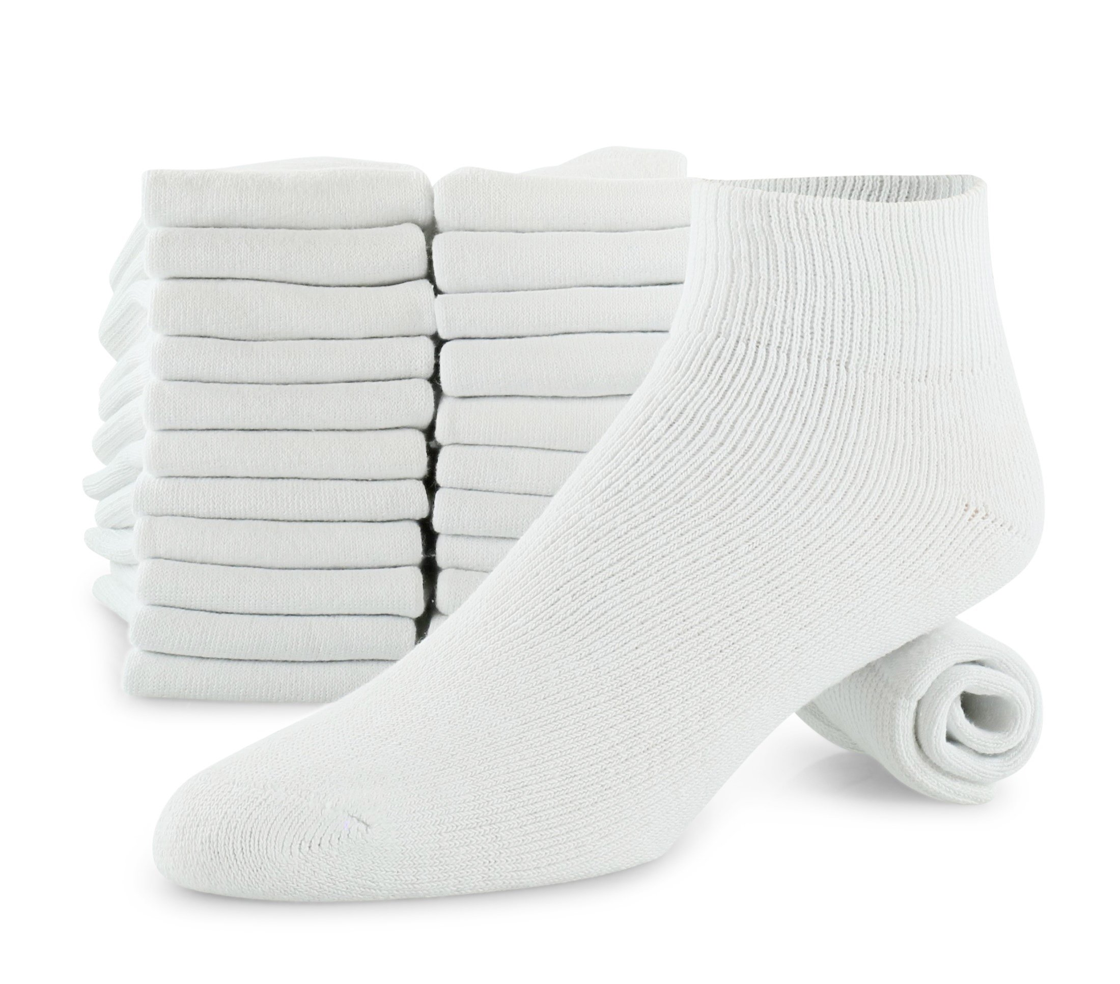 Men's 12-Pack Cotton White Ankle Athletic Sock Made For Top National Brand Shoe Size 8-12 Sock Size 10-13