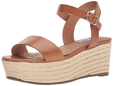 8d008657bd0 Steve Madden Women s Busy Wedge Sandal Cognac Leather 10 ...