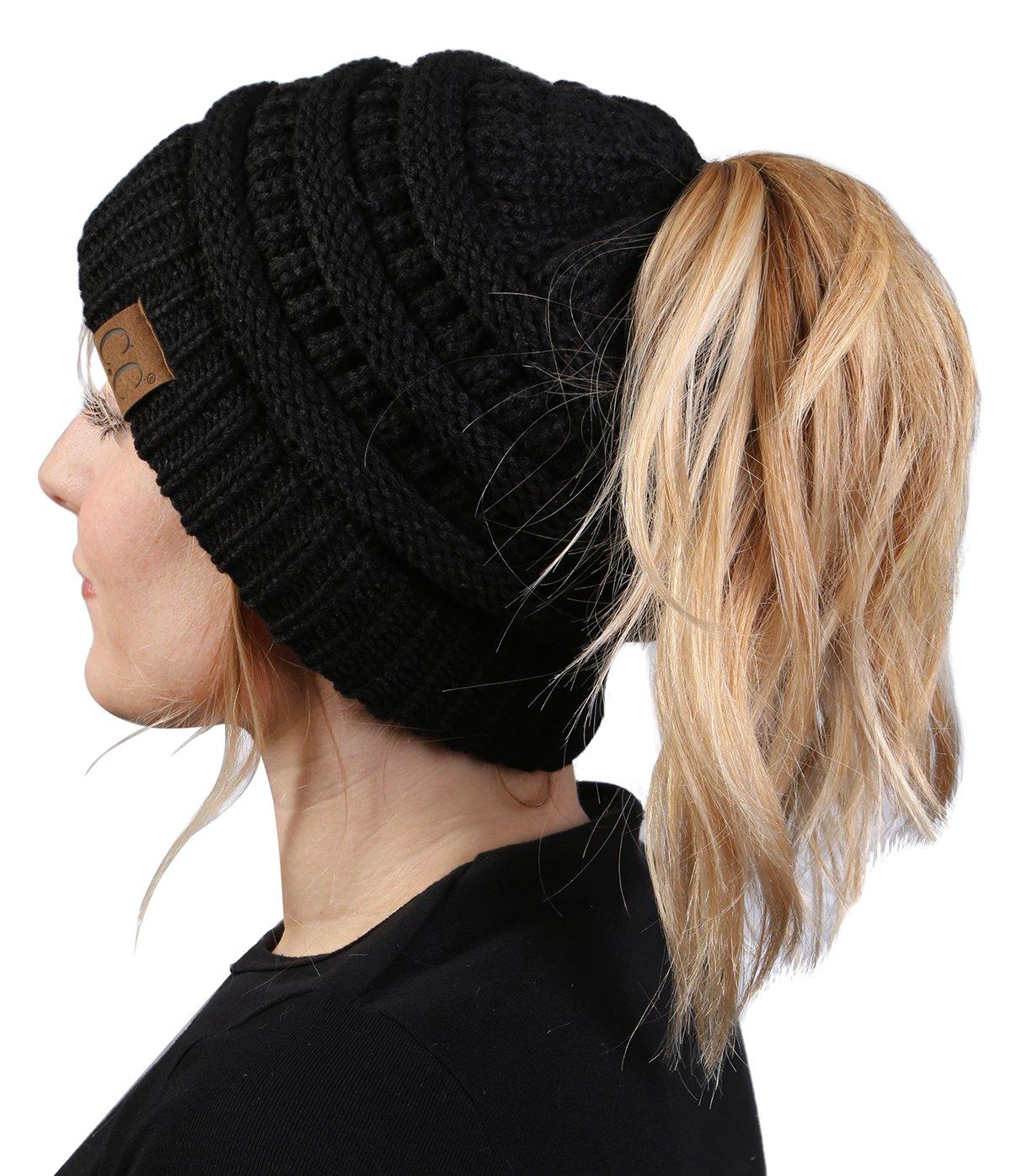 BT-6020a-06 Messy Bun Womens Winter Knit Hat Beanie Tail - Black