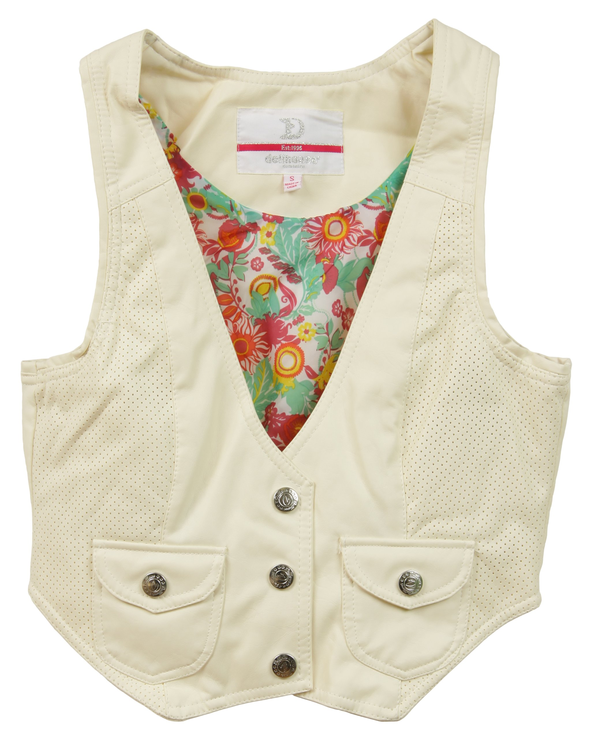 Dollhouse Juniors PU Imitation Leather Vest with Floral Lining - Ivory White (Small)