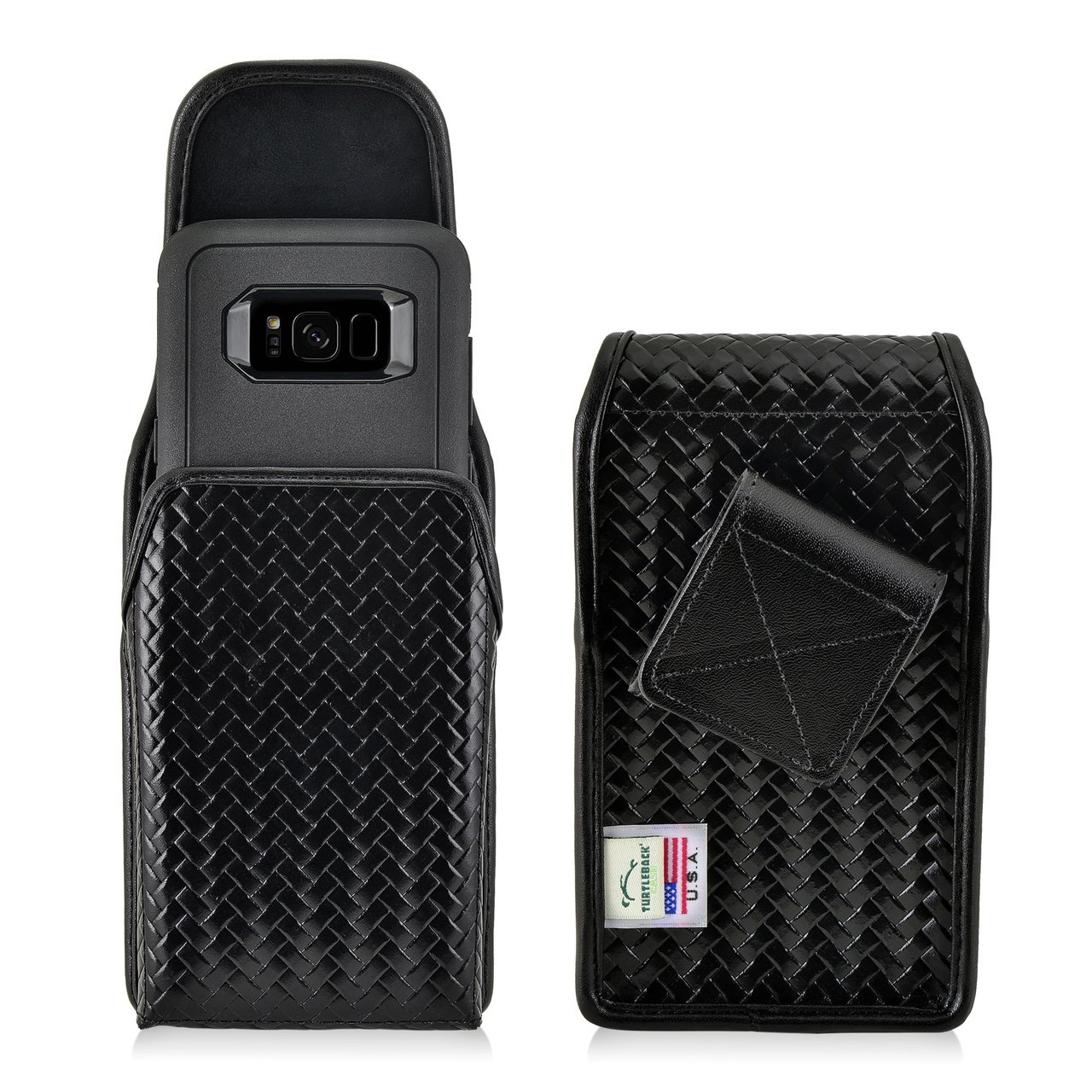Turtleback Law Enforcement Rugged Police Basketweave Genuine Leather Vertical Duty Belt Case with Hook and Loop Closure fits Sonim XP8 Phone with Any Any case on it.