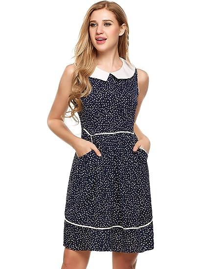 8da8b6cf4a2f5 ACEVOG Women's Casual Sleeveless Doll Collar Dress Peter Pan Collar Tea  Dress