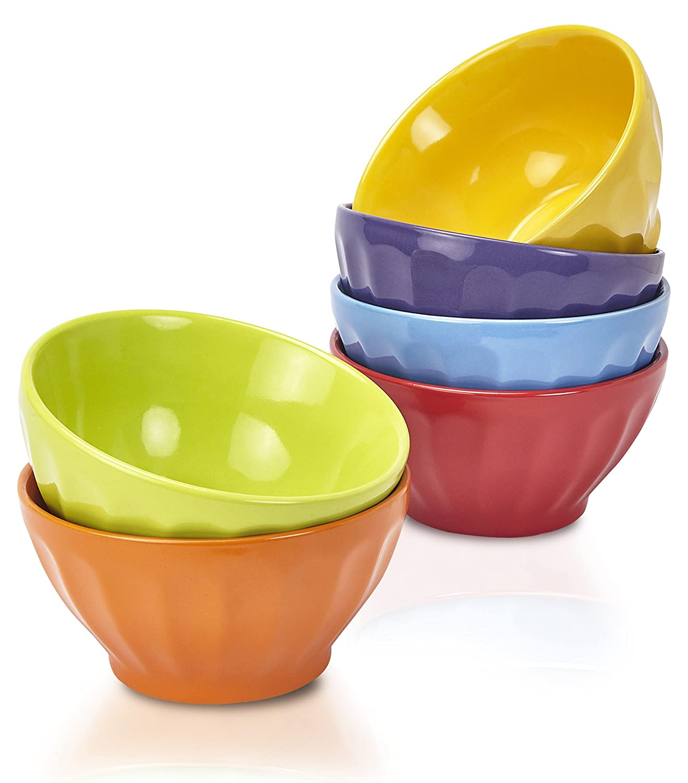 Klikel Fluted Soup Bowls Set | 6 Bright Solid Colors | Dishwasher And Microwave Safe | Porcelain Dinnerware | Cereal Rice Salad Bowls | Deep Stackable Pet Cat Dog Bowl | 20oz, 5.5 Round