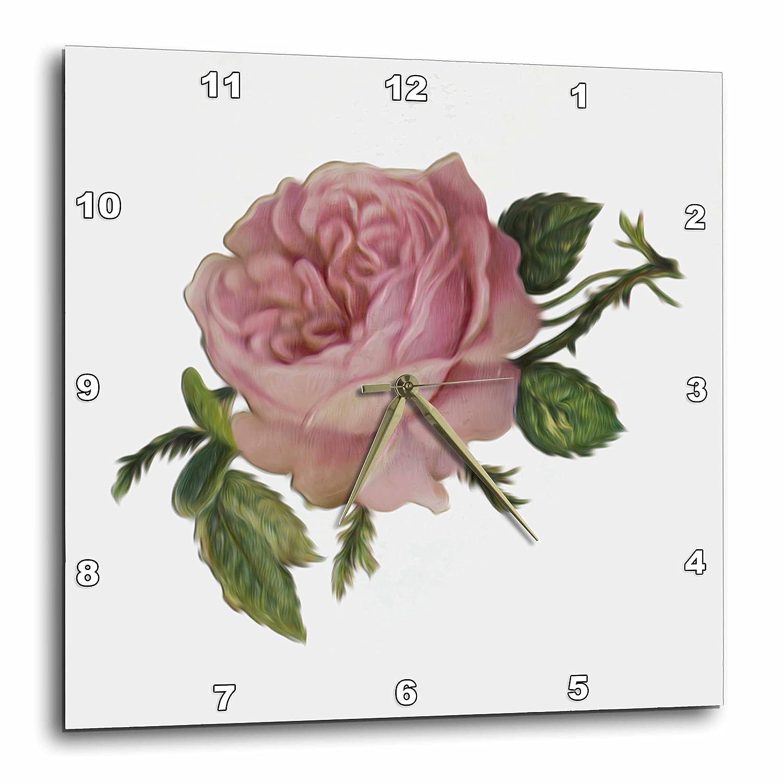 10x10 Wall Clock dpp/_104602/_1 3dRose Dooni Designs Vintage Designs Lovely Victorian Vintage Pink Rose Floral Digital Oil Painting