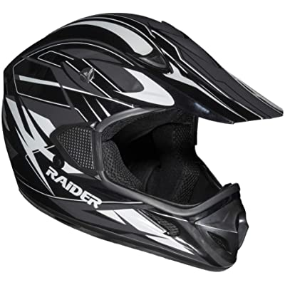 Raider RX1 Unisex-Adult MX Off-Road Helmet (Black/Silver, Small): Automotive