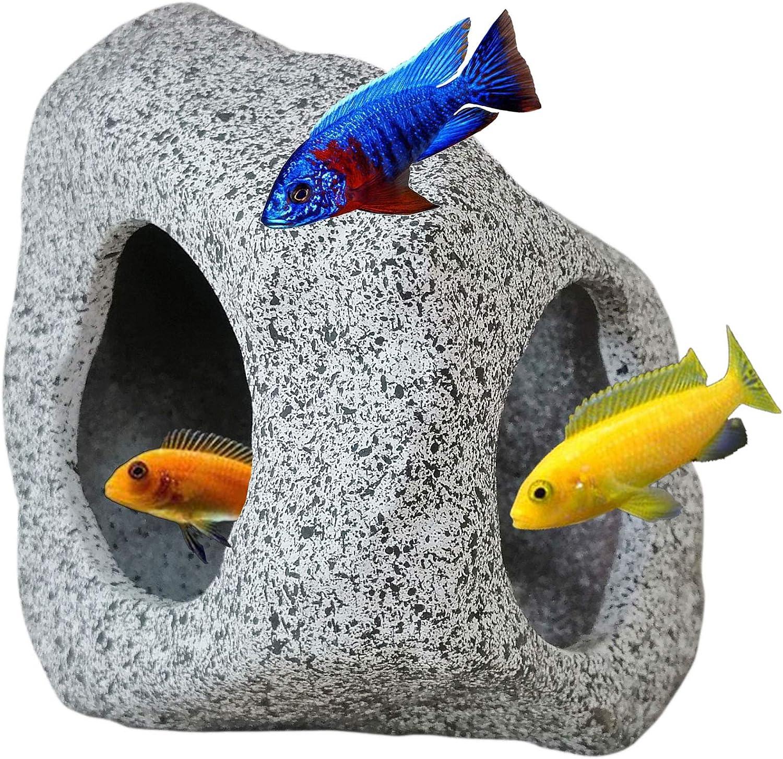 SpringSmart Aquarium Hideaway Rock Cave for Aquatic Pets to Breed, Play and Rest, Safe and Non-Toxic Ceramic Fish Tank Ornaments, Decor Stone for Aquascape