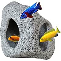 SpringSmart Aquarium Hideaway Rock Cave for Aquatic Pets to Breed, Play and Rest, Safe and Non-Toxic Ceramic Fish Tank…