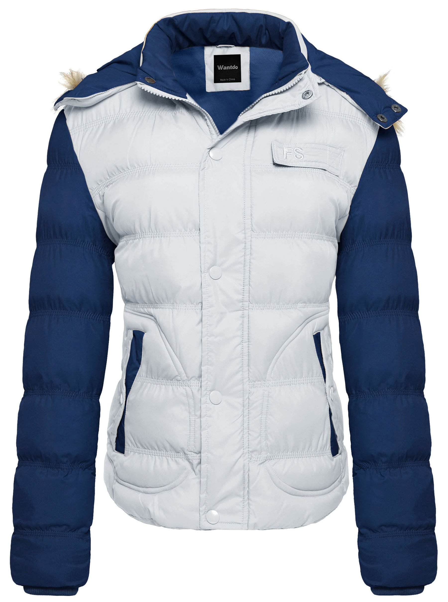 Wantdo Women's Casual Fur Hooded Thicken Quilted Outwear Jacket US Medium White