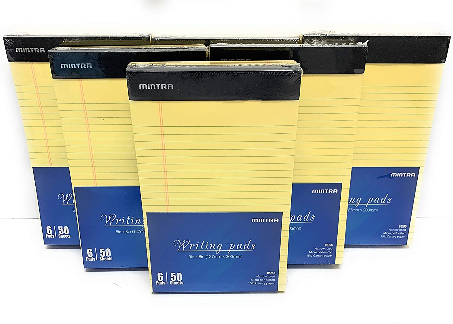 Mintra Office Legal Pads - 50 Sheets per Notepad - Micro perforated Writing Pad/Notebook Paper for School, College, Office, Work (xBasic, 5in x 8in, Narrow (Canary), 36pk (6-6pks))