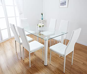 Black & White Glass Dining Table Set with 6 Faux Leather Chairs ...