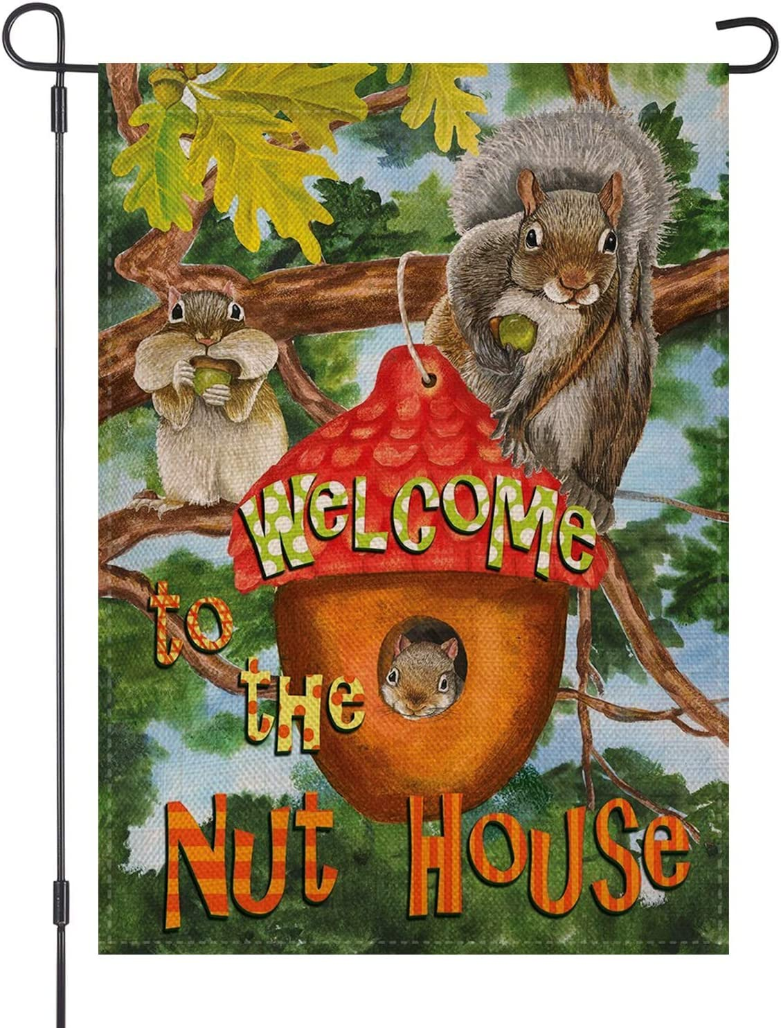 LOYOKI Welcome to The Nut House Squirrel Garden Flag Burlap Double Sided Outdoor Yard Decoration 12.5 x 18 Inch