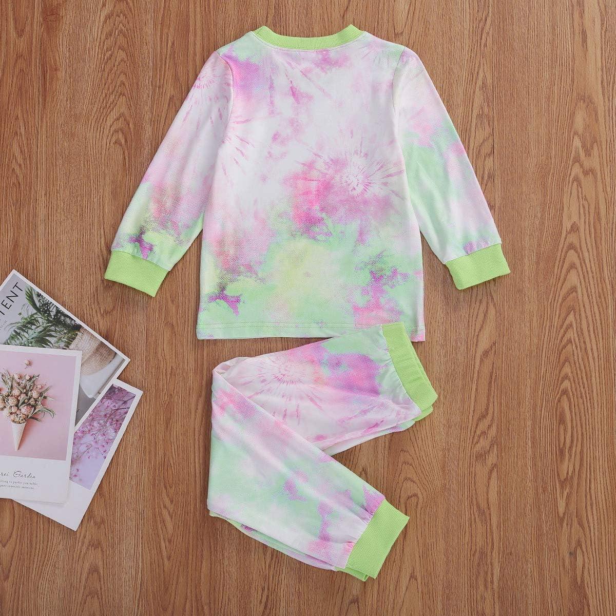 Toddler Baby Girl Pajama Tie Dye Clothes Long Sleeve T-Shirt Sweatshirt Tops with Pants Outfit Sleepwear Nightwear Homewear