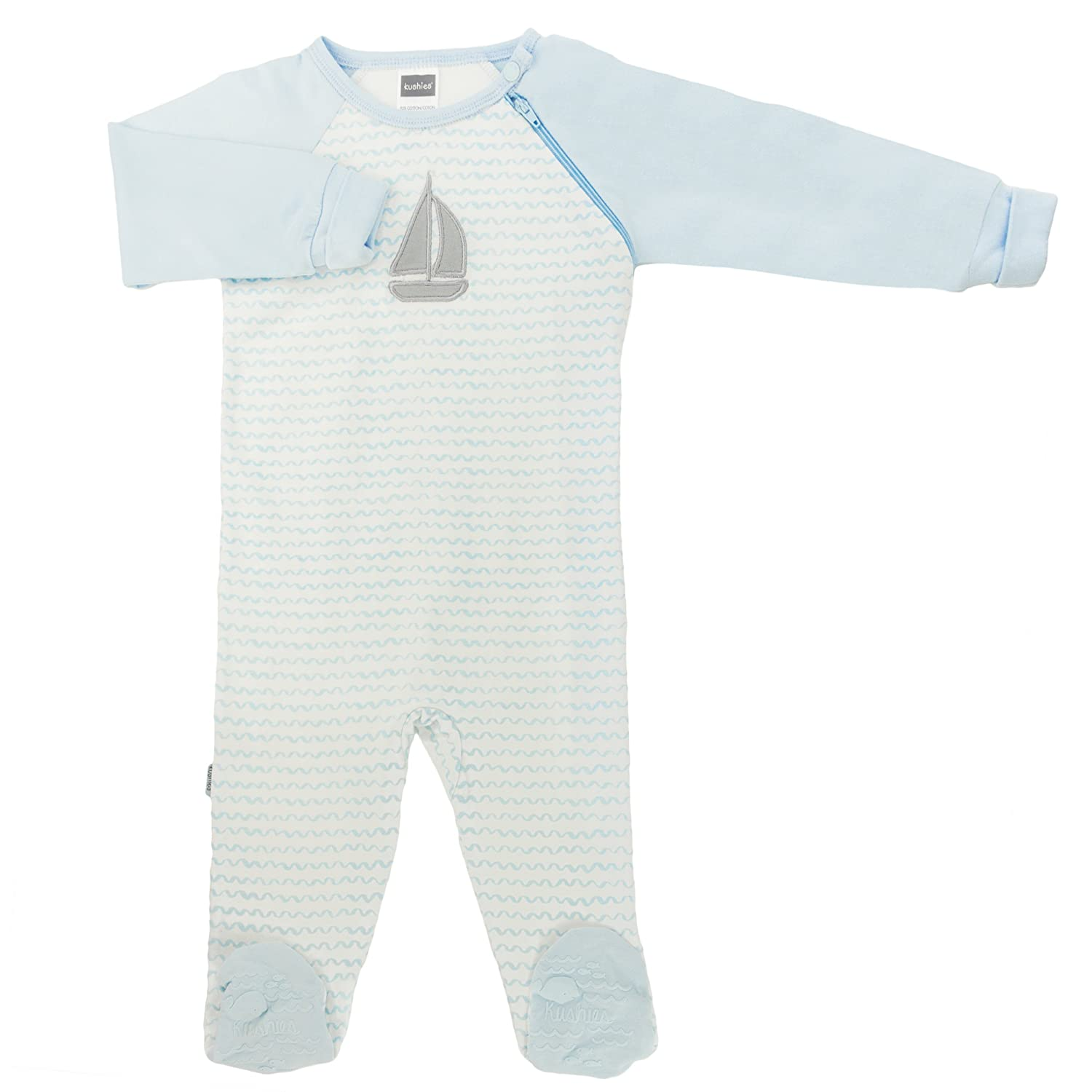 Kushies Baby Boys Side Zip Sleeper, Light Blue Print, 3 Months L16070312