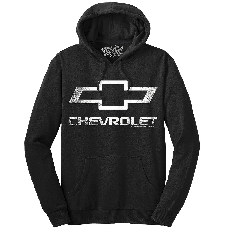 Tee Luv Chevrolet Logo Hoodie Officially Licensed Chevy Hooded Sweatshirt Black