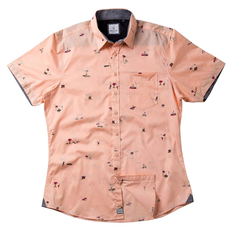 Broadlands Mens Custom-Fit Casual Short Sleeve Tropical Hawaiian Print Shirt