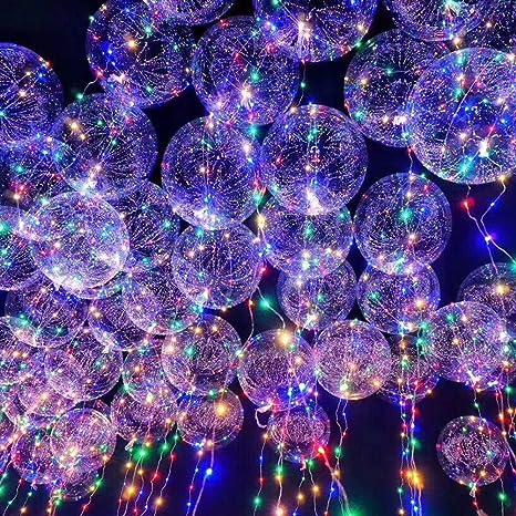 LEDMOMO Globos de fiesta 18 pulgadas globo transparente intermitente luz de color mezclado con alambre de