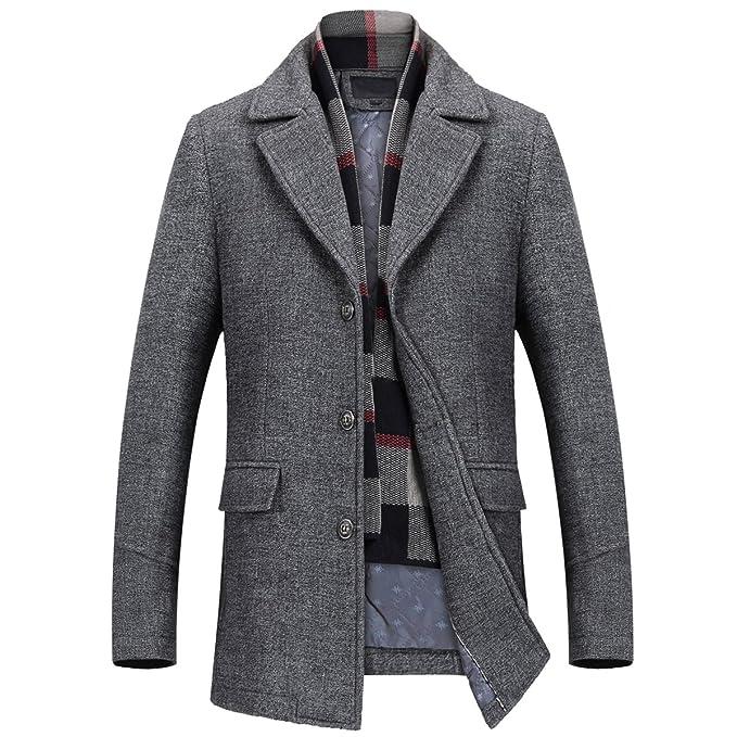Mire Coo Hombre cálido Woll Abrigo Abrigo Corto Chaqueta de Invierno Business: Amazon.es: Ropa y accesorios