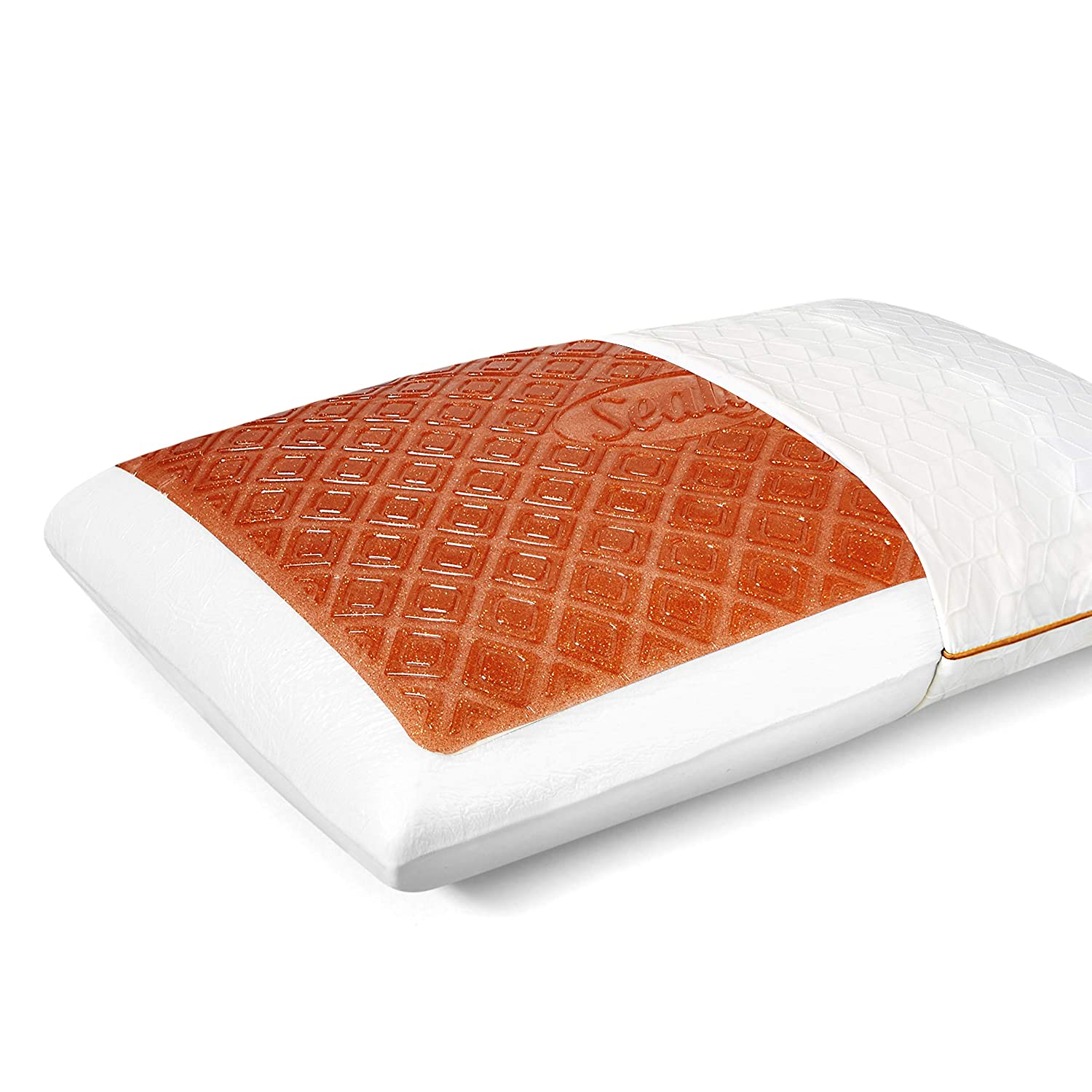 Sealy Copper CoolGel Memory Foam Standard Size Bed Pillow, White