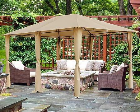 Amazon Com Mastercanopy Outdoor Patio Gazebo Waterproof Soft Top Steel Garden Gazebo Tent Lawn Backyard And Deck 10x13ft Beige Garden Outdoor