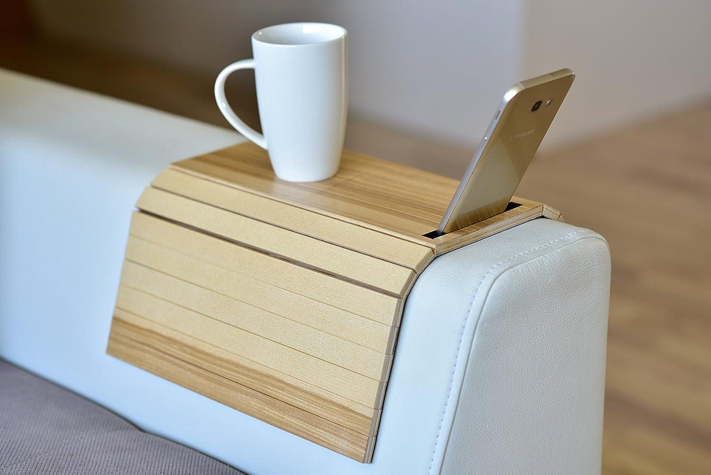 Bandeja de madera para sillón o sofá con protectores de reposabrazos, mesa y  posavasos, potatelefono