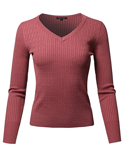 23f019260d Women s Basic Long Sleeve Crew Neck Cable Knit Classic Sweater at ...