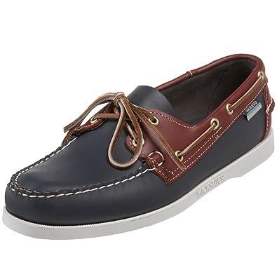 Sebago Men s Spinnaker Synthetic Rubber Boat Shoe Navy Red B72816 7 ... 28d63e3715a