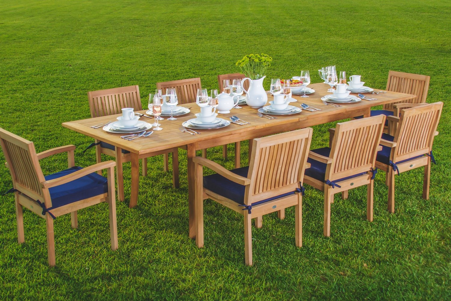 Amazoncom  New  Pc Luxurious GradeA Teak Dining Set - Teak outdoor dining table